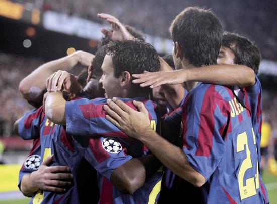 Joueurs du FC Barcelona après un but