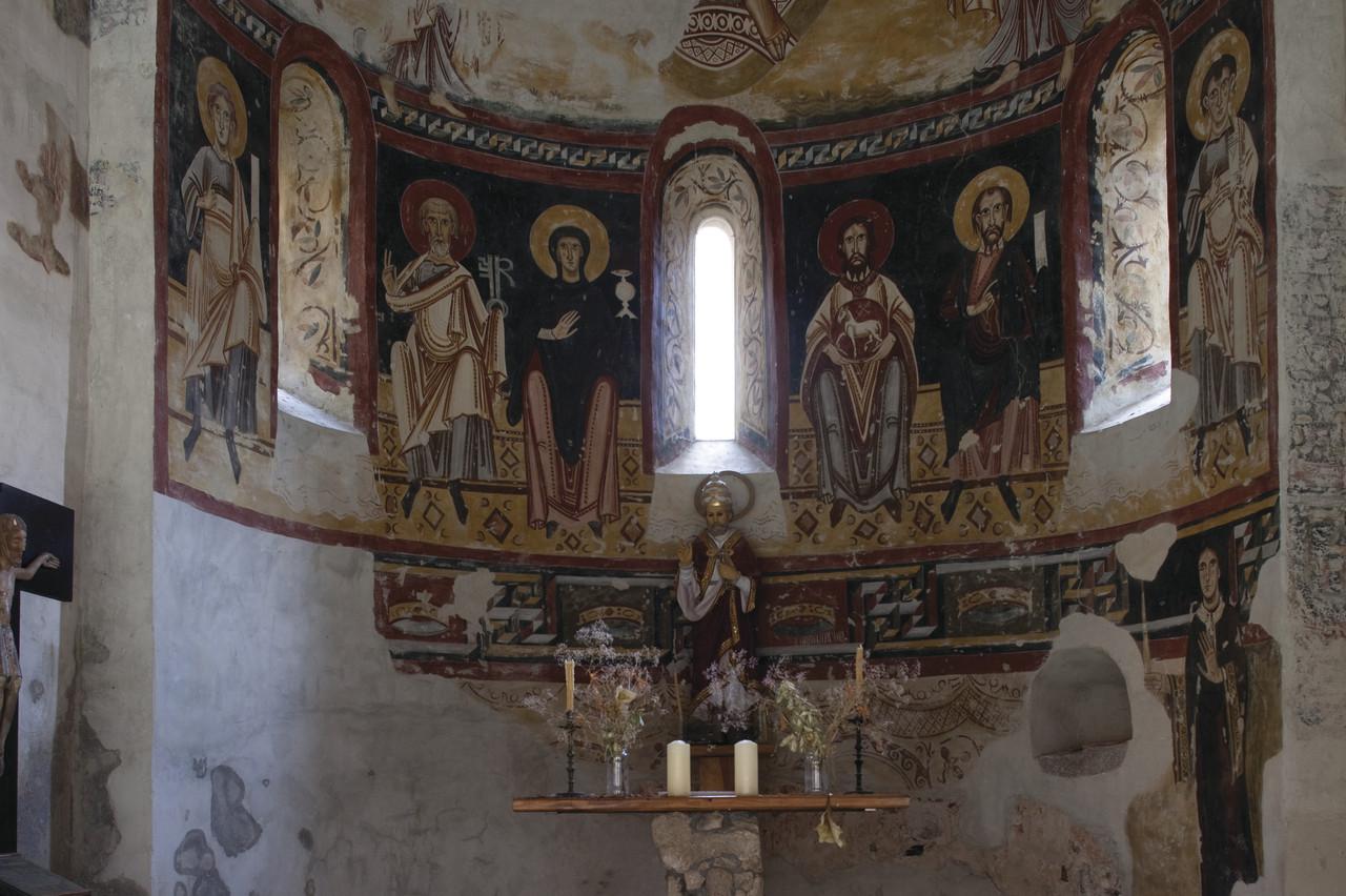 Peintures murales de 12 ème siècle de l'église de Sant Pere del Burgal. Copyright Juan Jos+® Pascual