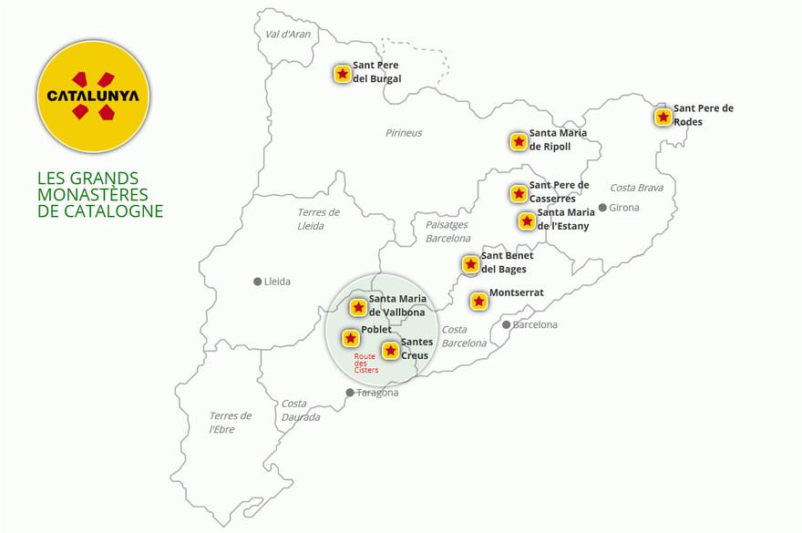 Carte des plus grands monastères de Catalogne