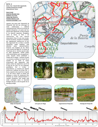 Fiche téléchargeable en pdf de la balade Roses - Parc Natural dels Aiguamolls - Castelló d'Empúries - Cortalet-Empuriabrava - Roses  © burricleta.com