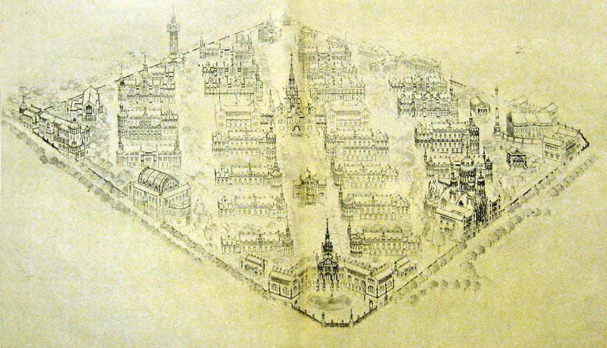 Croquis de l'Hospital de la Santa Creu i Sant Pau (1905-1930) © wikimedia
