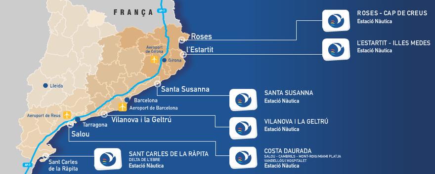 La carte des 6 centres nautiques balnéaires de Catalogne