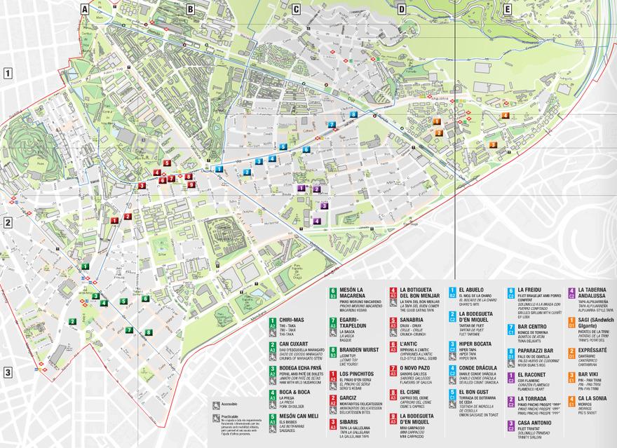 Une carte des Bars à Tapas de Barcelone et dans le quartier Nou Barris
