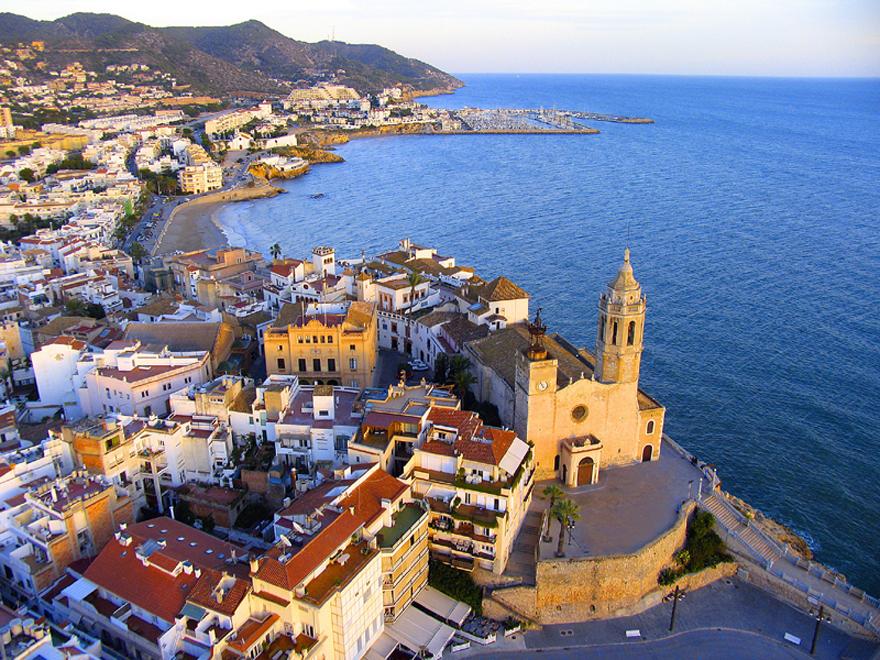 Vue aérienne de Sitges - photo Diputació de Barcelona