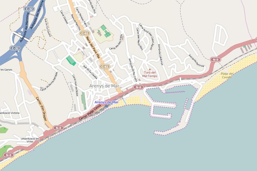 Carte de Arenys de Mar - © osm