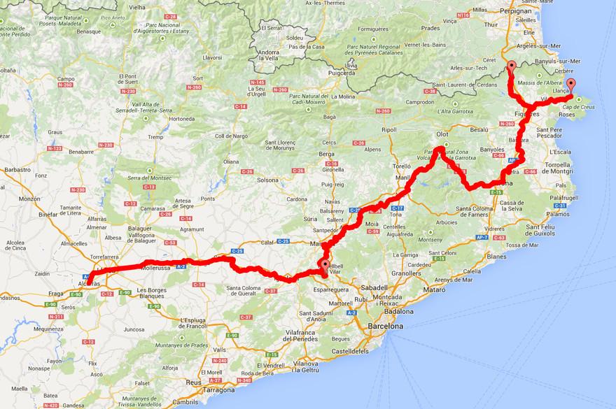 Carte du sentier de Saint-Jacques de Compostelle en Catalogne, le sentier de Sant Jaume. - Fond de carte google maps.
